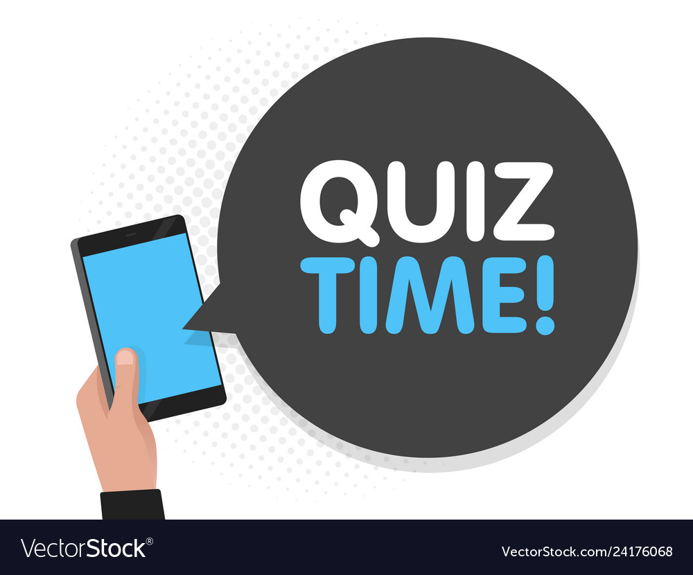 Hand holding smartphone screen background quiz