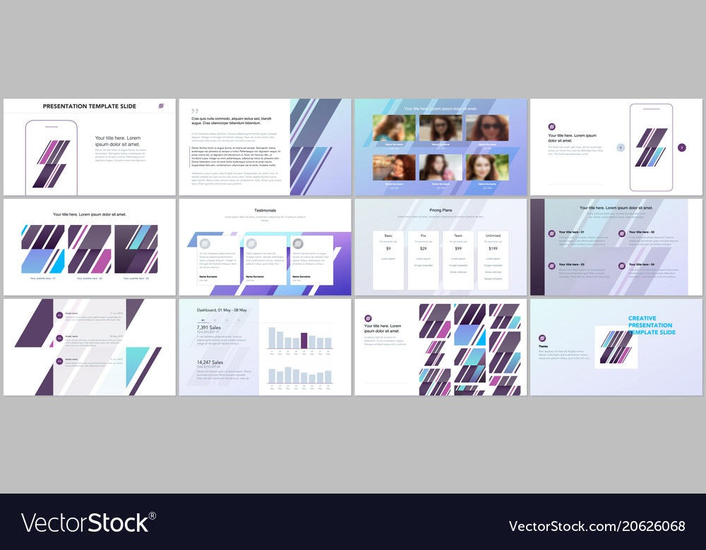 minimal presentations portfolio templates vector image, Minimal Presentation Template, Presentation templates