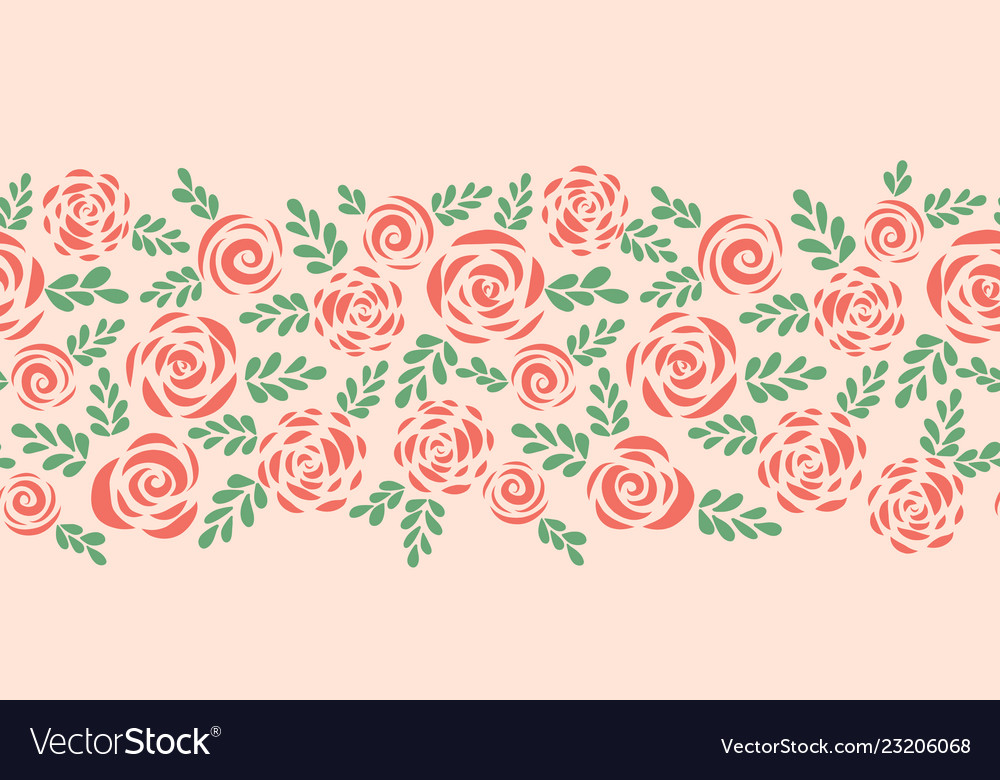 Modern abstract flat roses seamless border