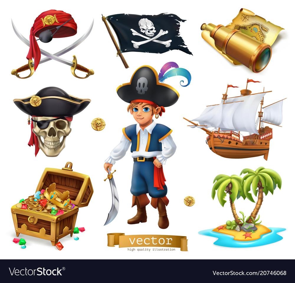 Pirates set boy treasure chest map flag ship