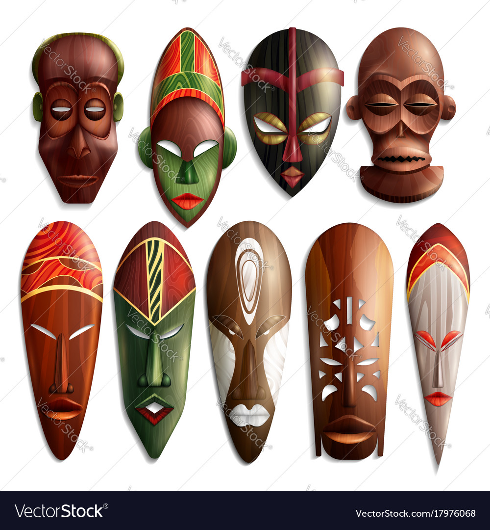 Realistic African Masks Set Royalty Free Vector Image
