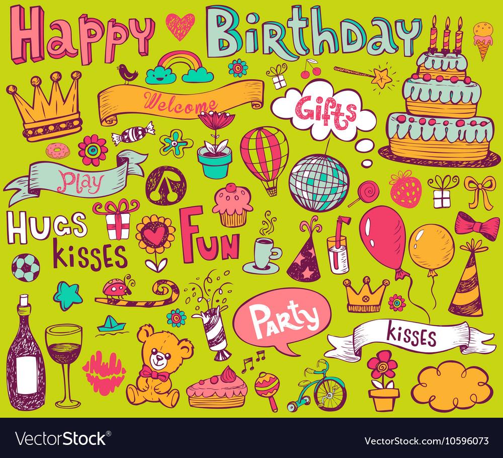 Birthday doodle icons