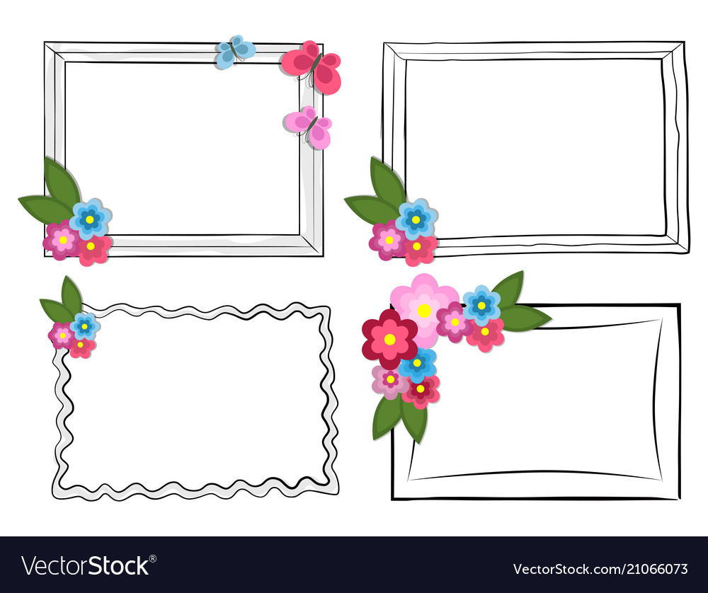 Black and white photo frames with colorful flowers