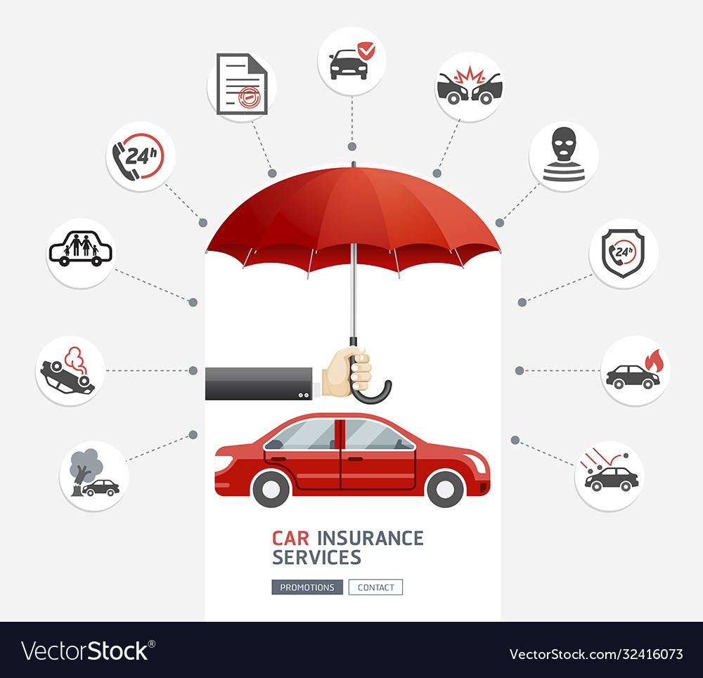 Car insurance services business man hold umbrella