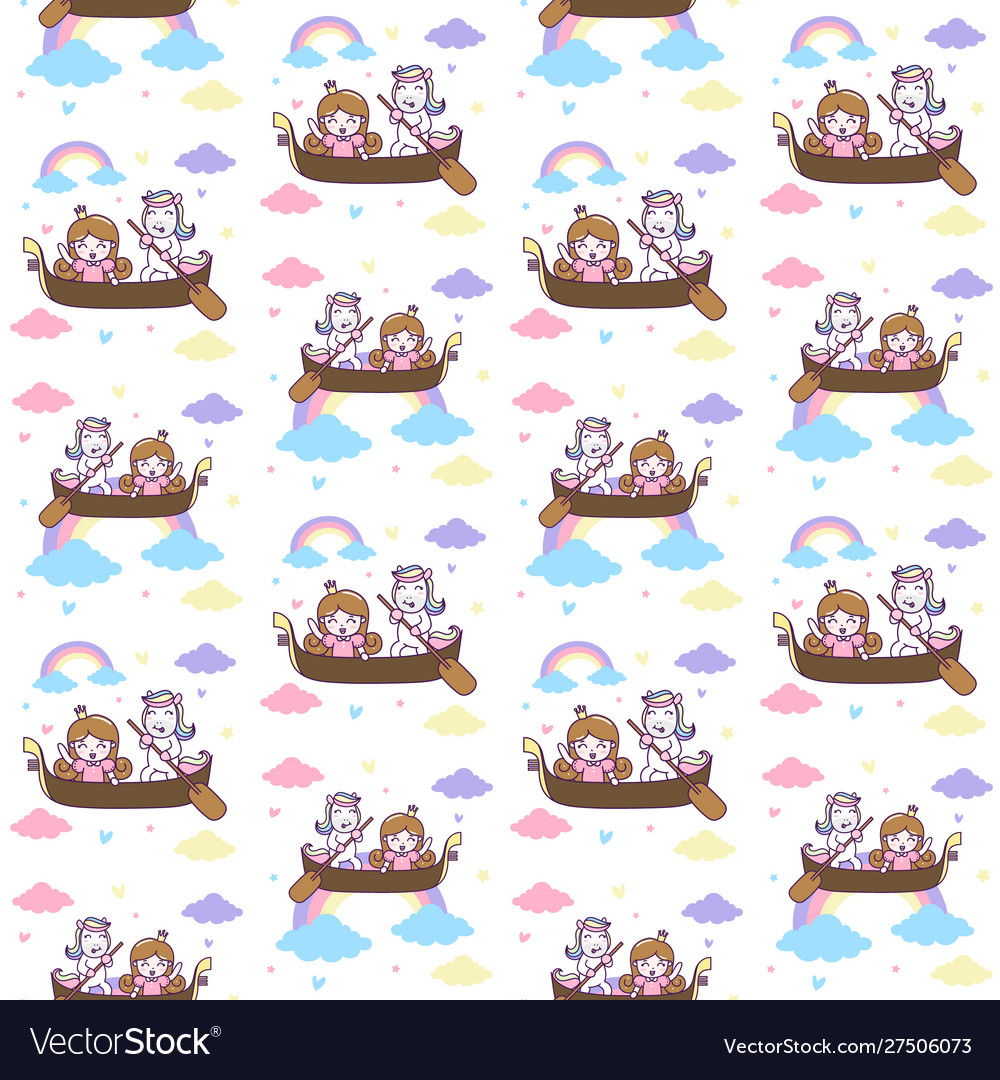 Cute unicorn and princess ride a boat seamless