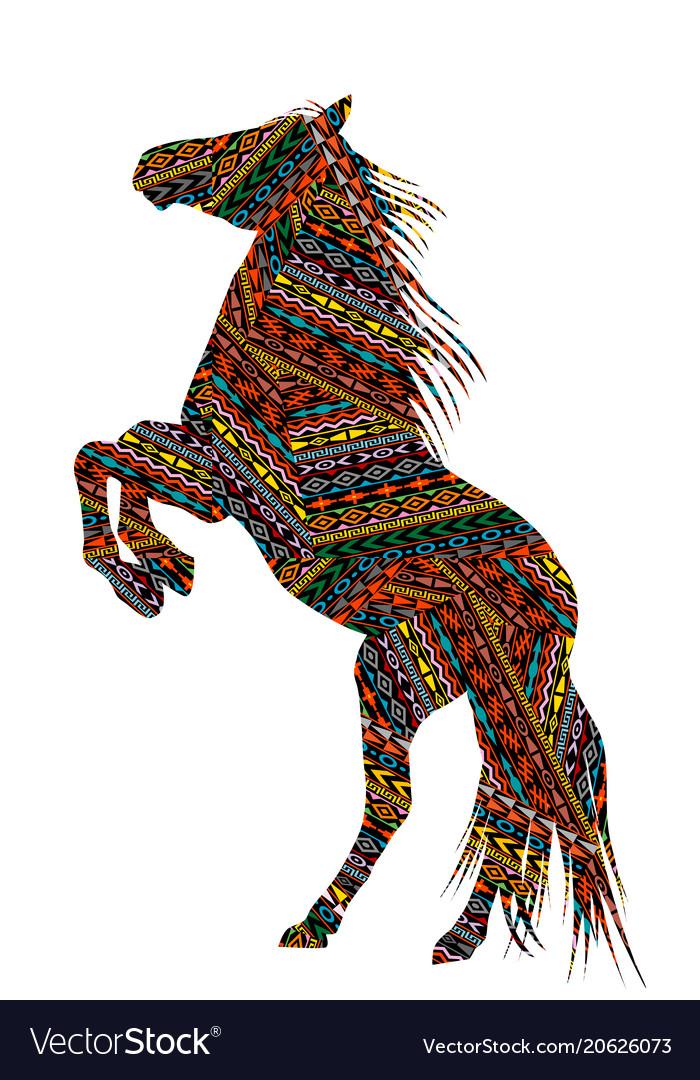 Ethnic motifs patterned bucking horse