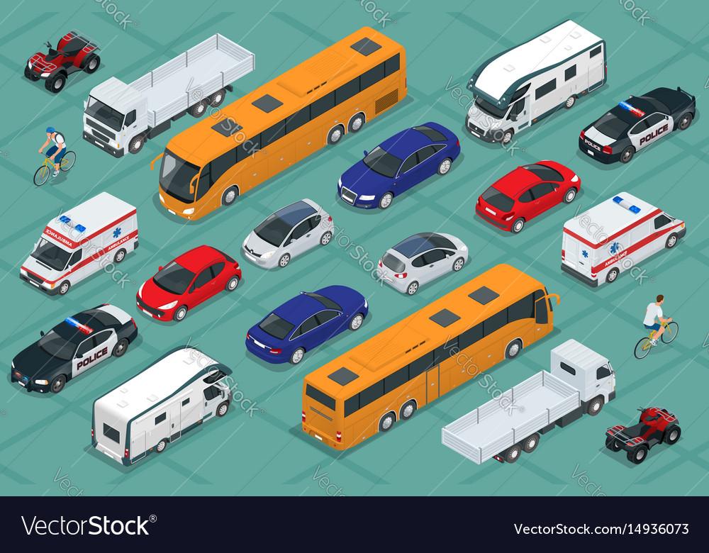 Flat isometric high quality city transport car