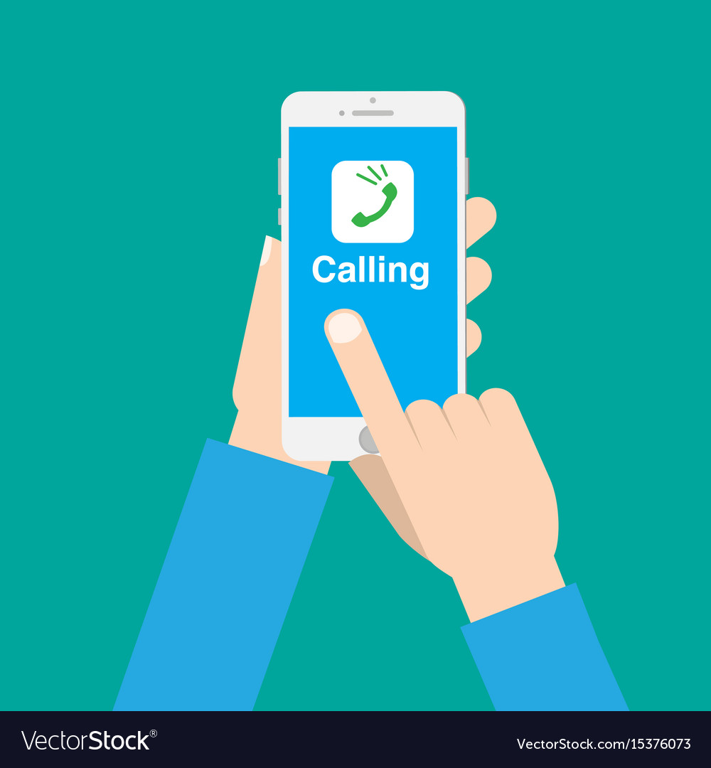 Hands use call application on phone with isolated vector image