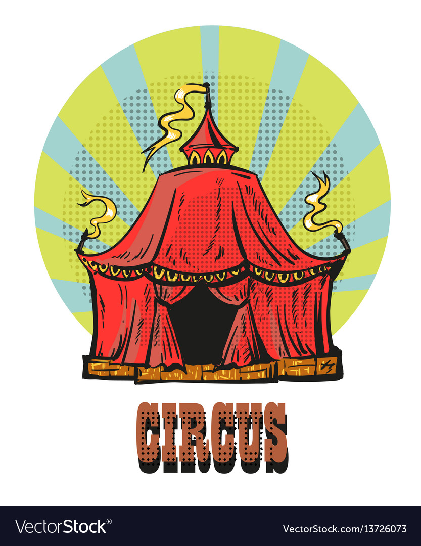 Magic red circus frame hand drawn comic style