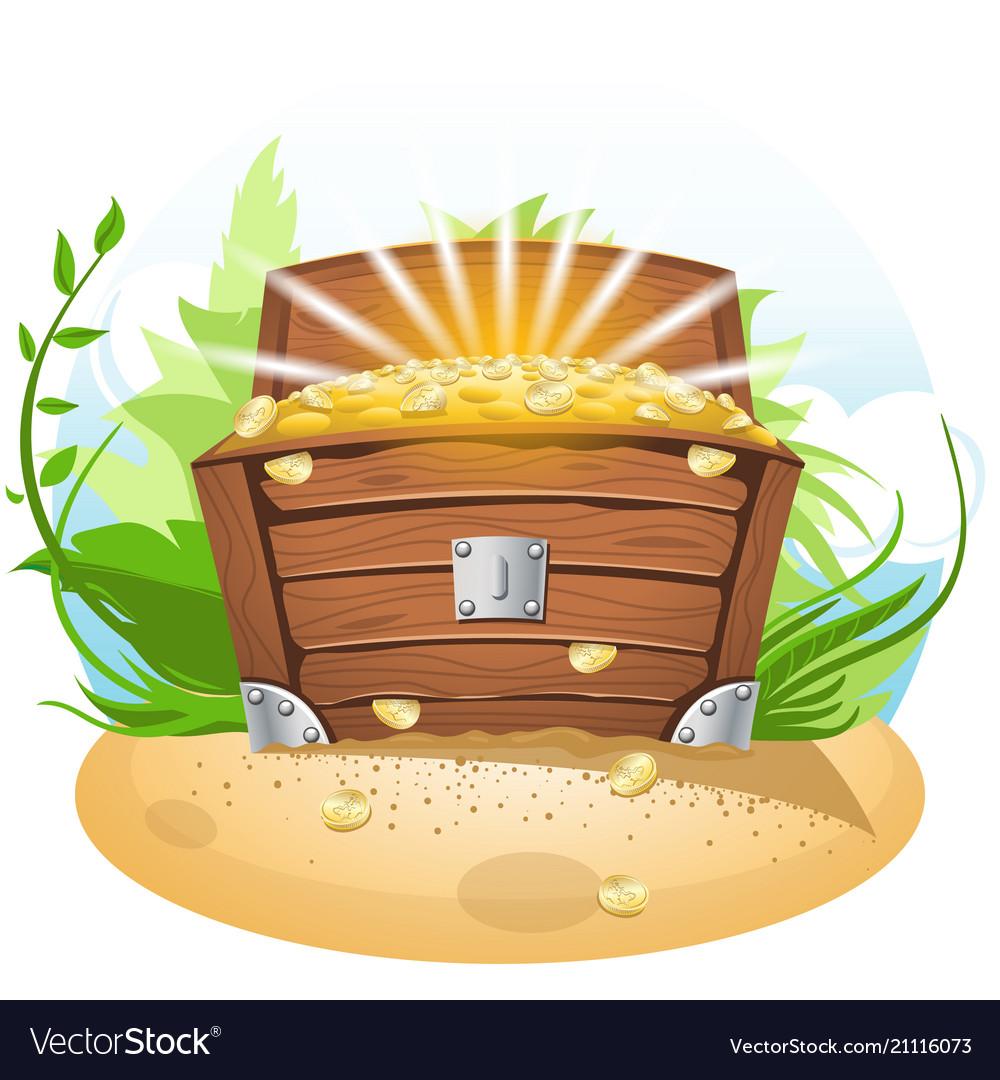 Open treasure chest cartoon