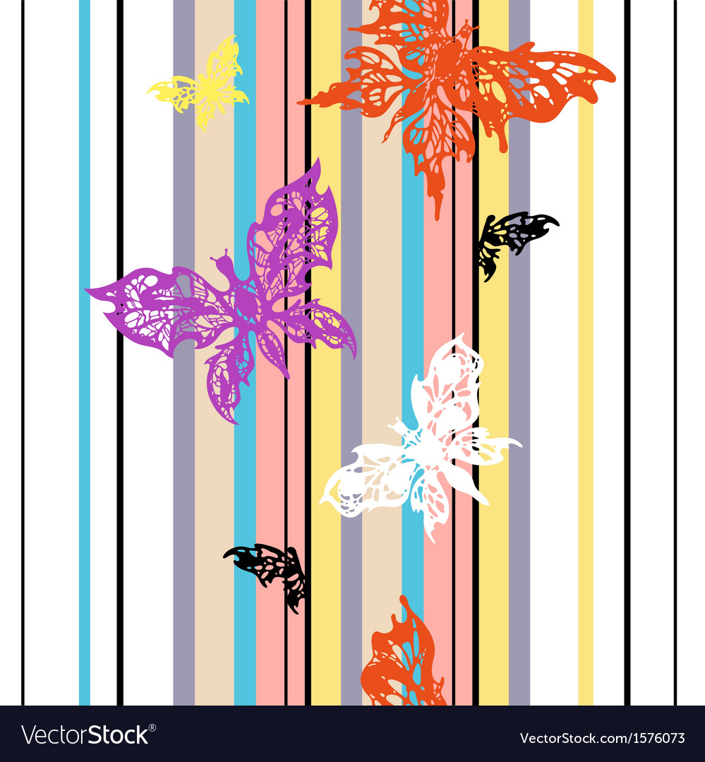 Seamless striped background with butterflies