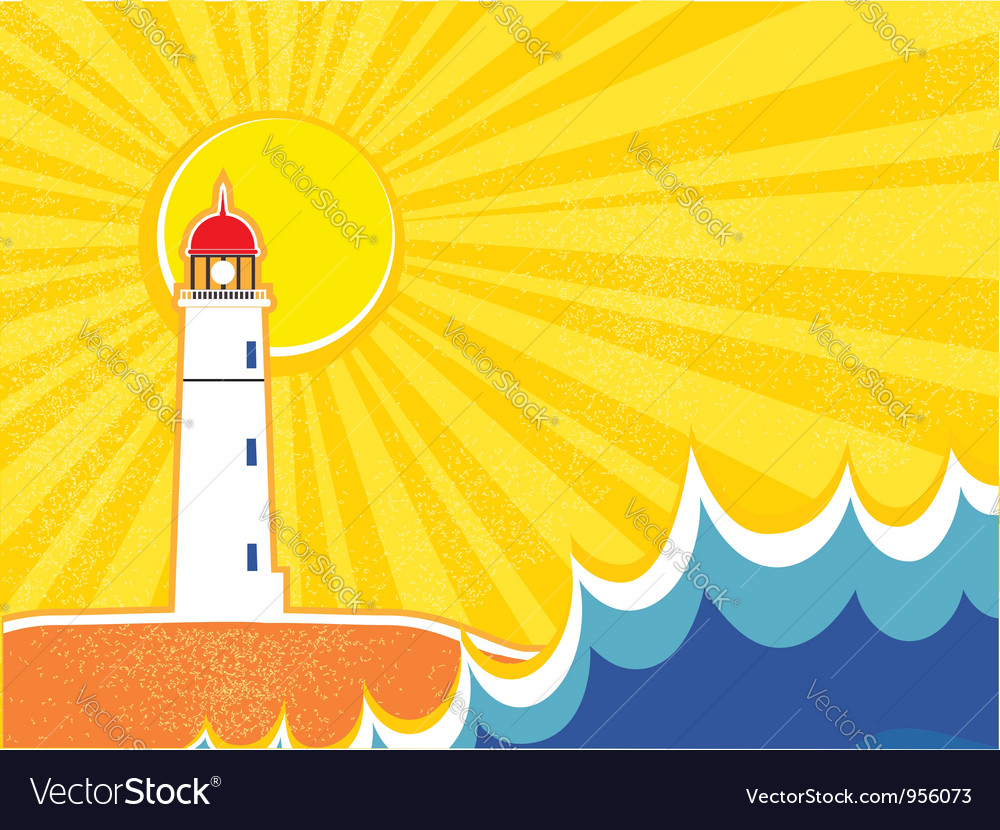 Seascape horizon with lighthouse