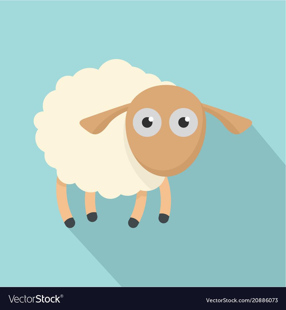 Shocked sheep icon flat style