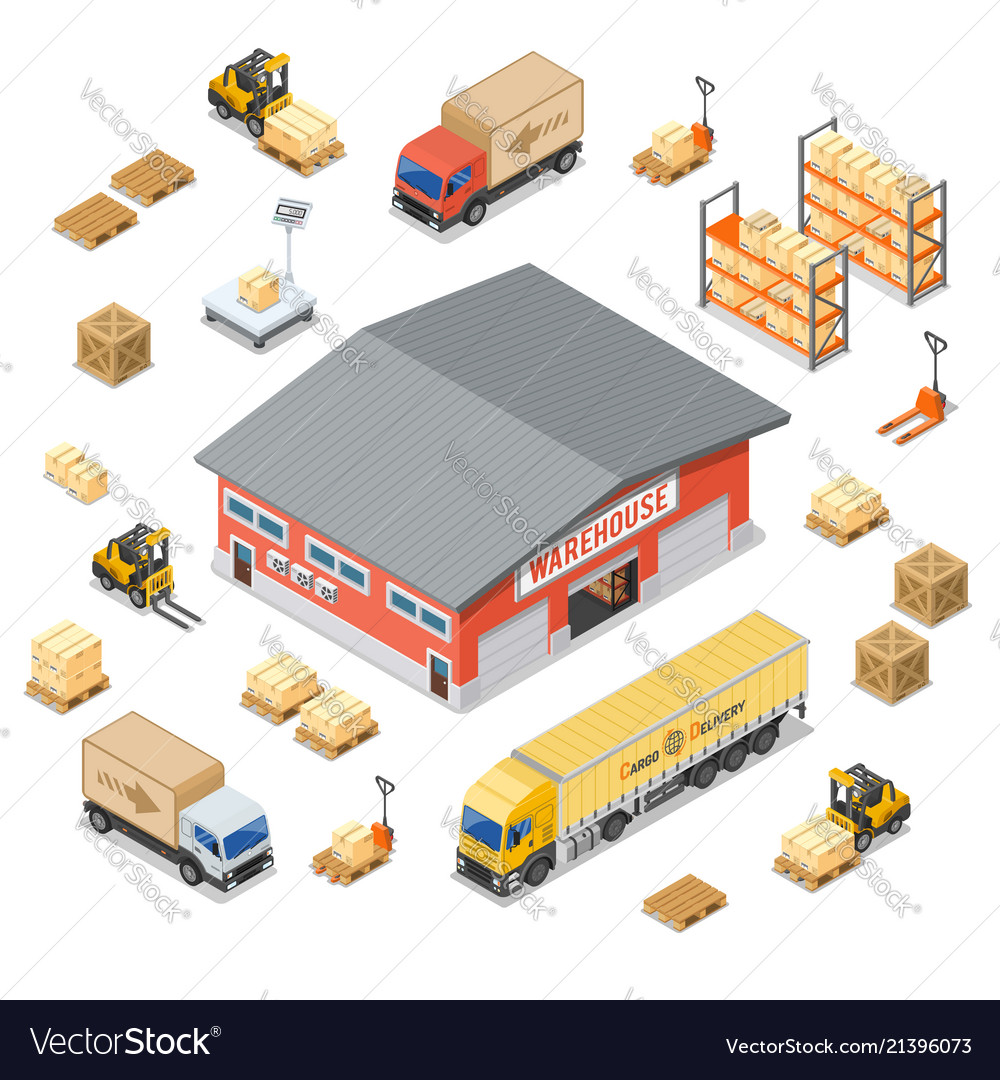 Warehouse storage and delivery isometric icons set