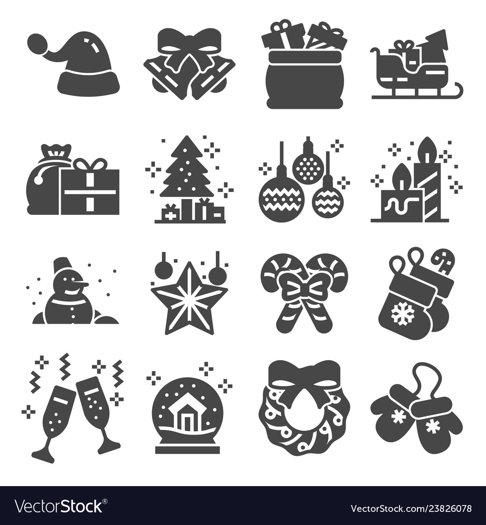 Christmas related icons set on white