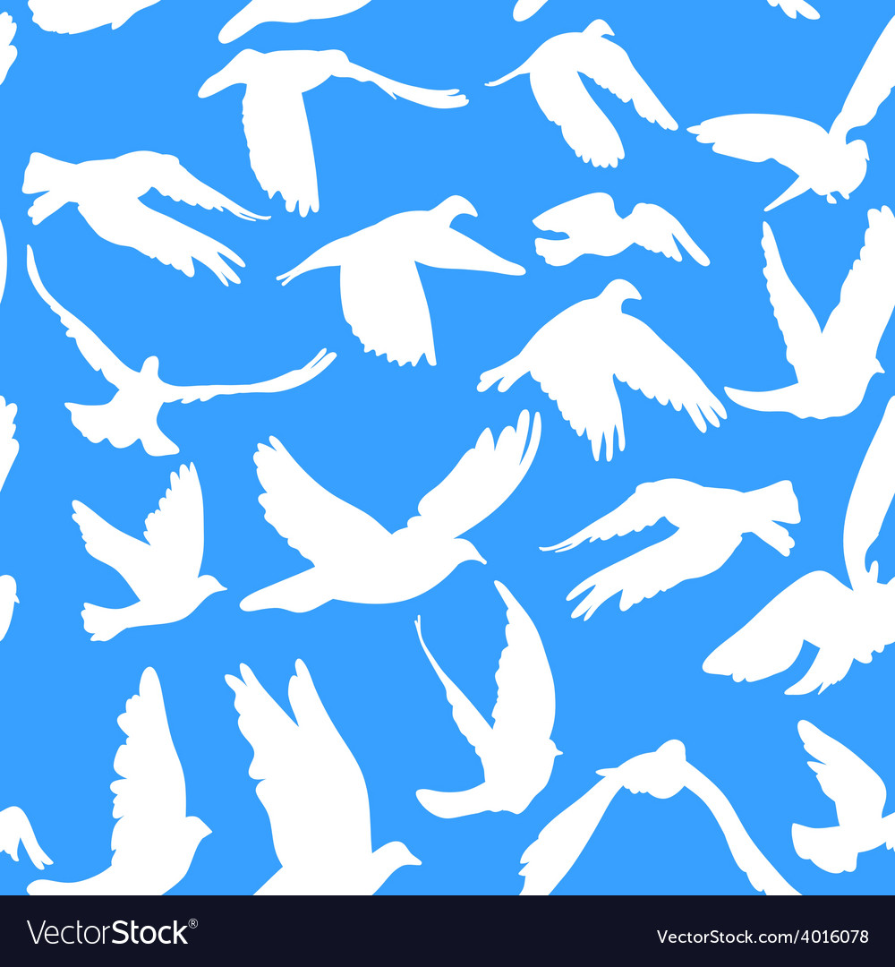 Doves and pigeons seamless pattern on blue