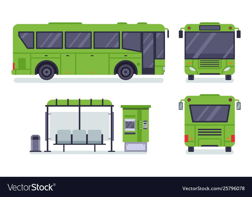 Flat city bus public transport stop autobus