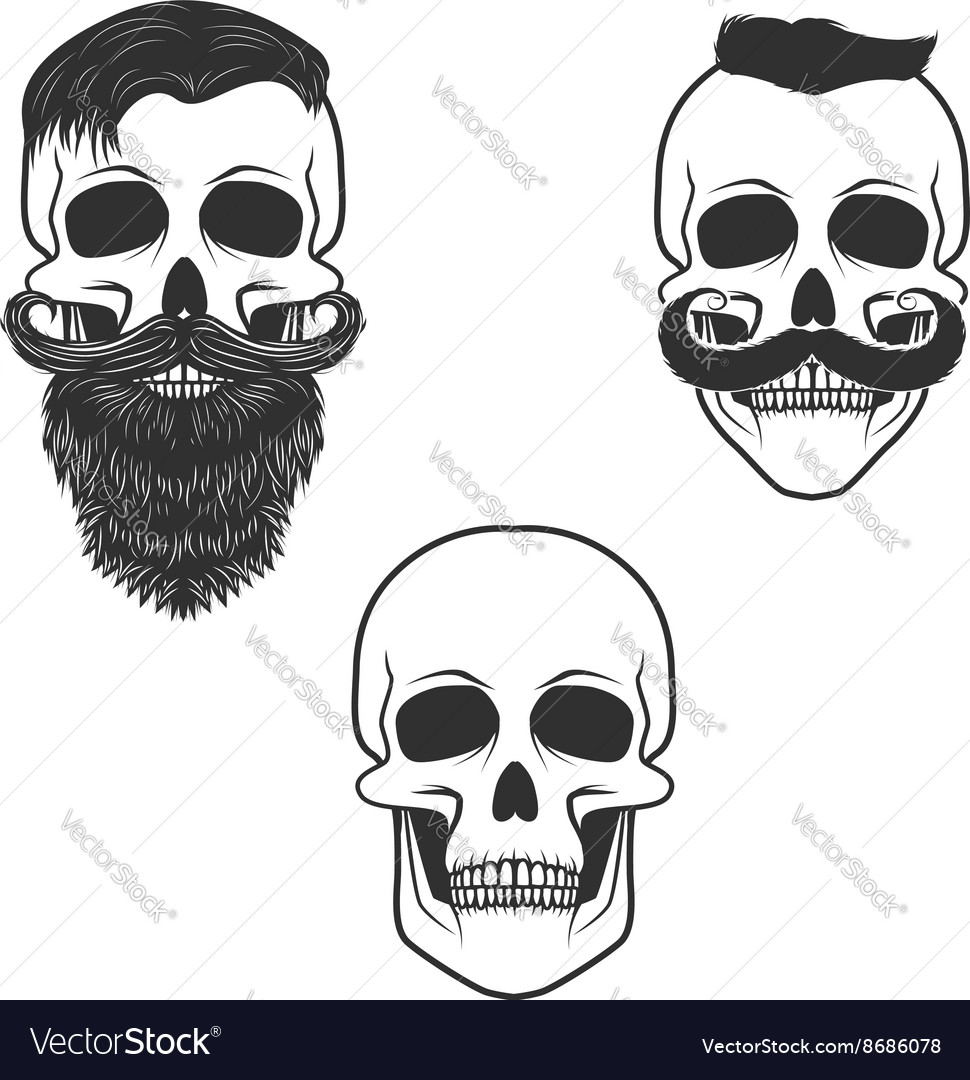 Set of skulls with mustache and beard