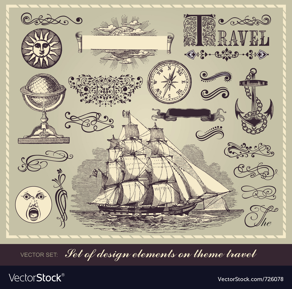 Set of travel symbols