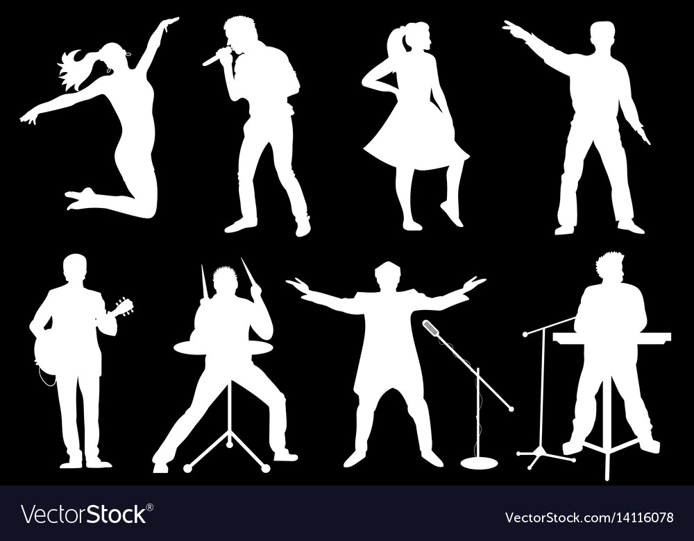 Set of white silhouettes of musicians singers and
