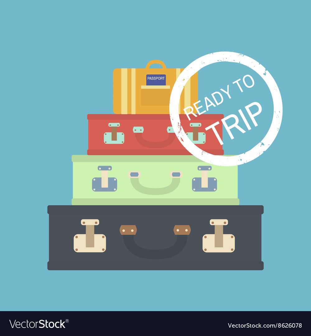Travel concept with suitcases Flat