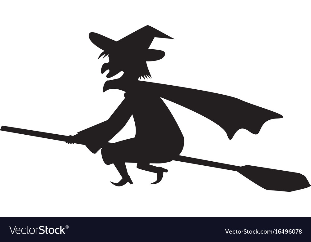Witch on a broomstick in silhouette