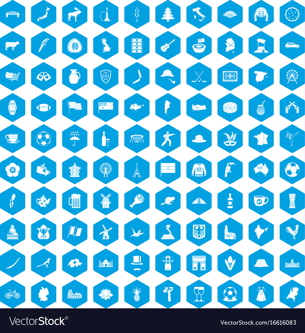 100 map icons set blue