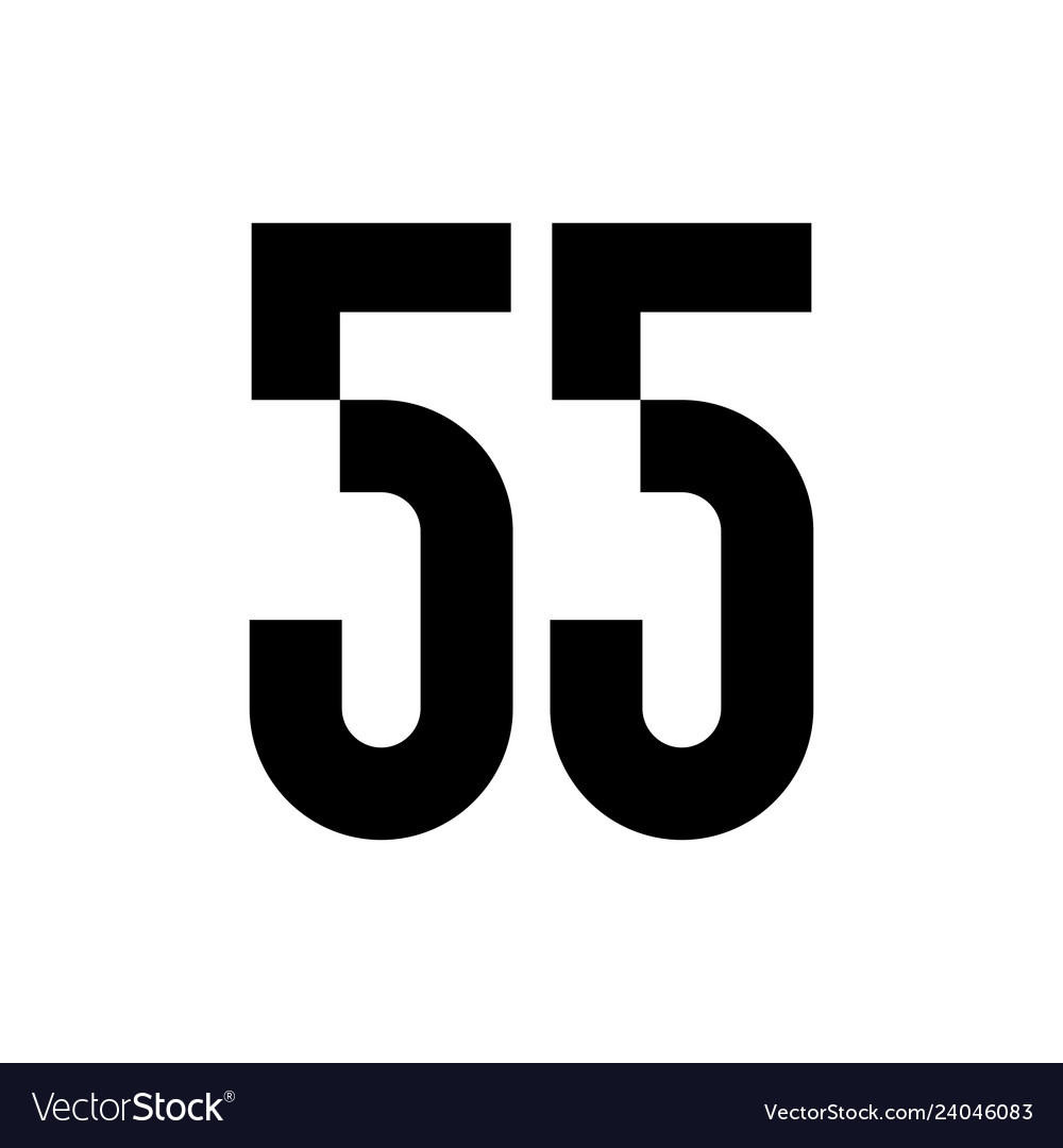 55 fifty five number logo icon sign