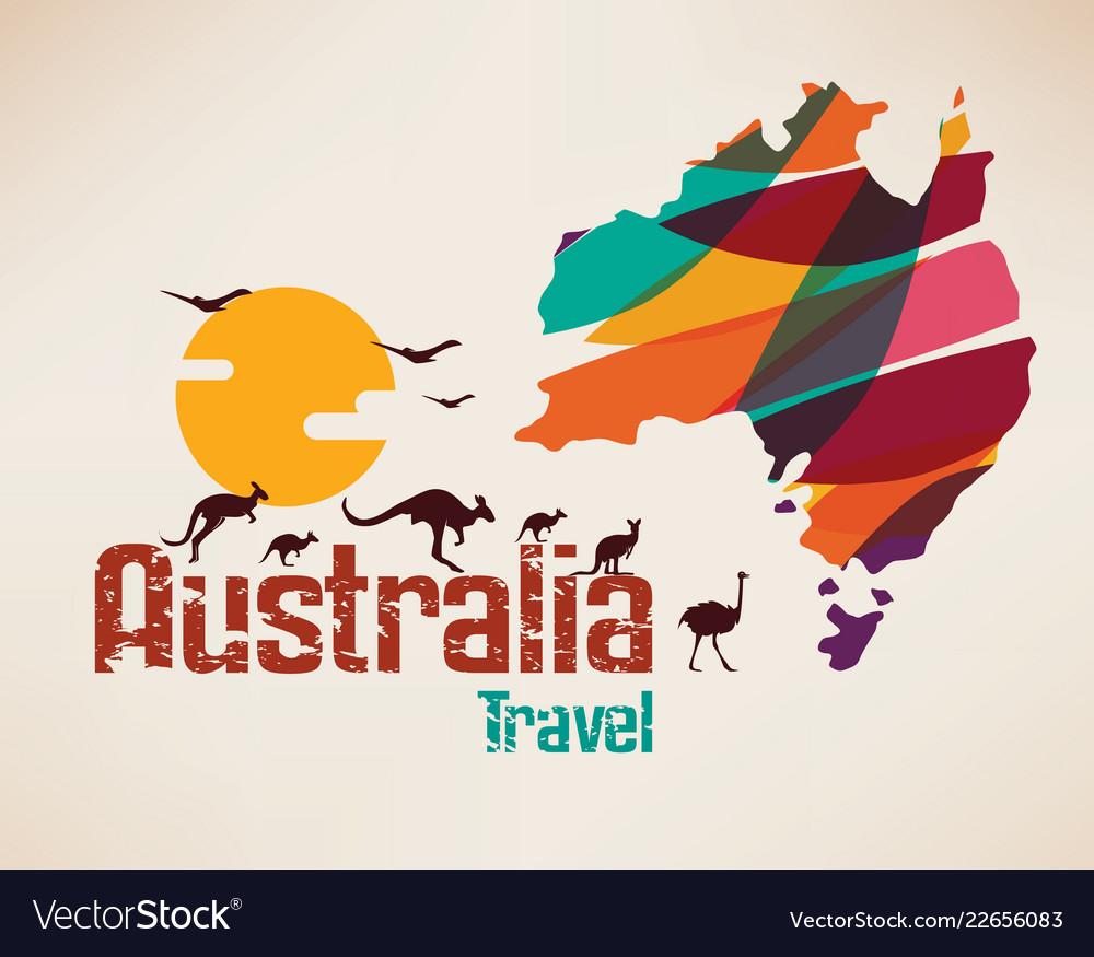 Australia travel map decrative symbol of
