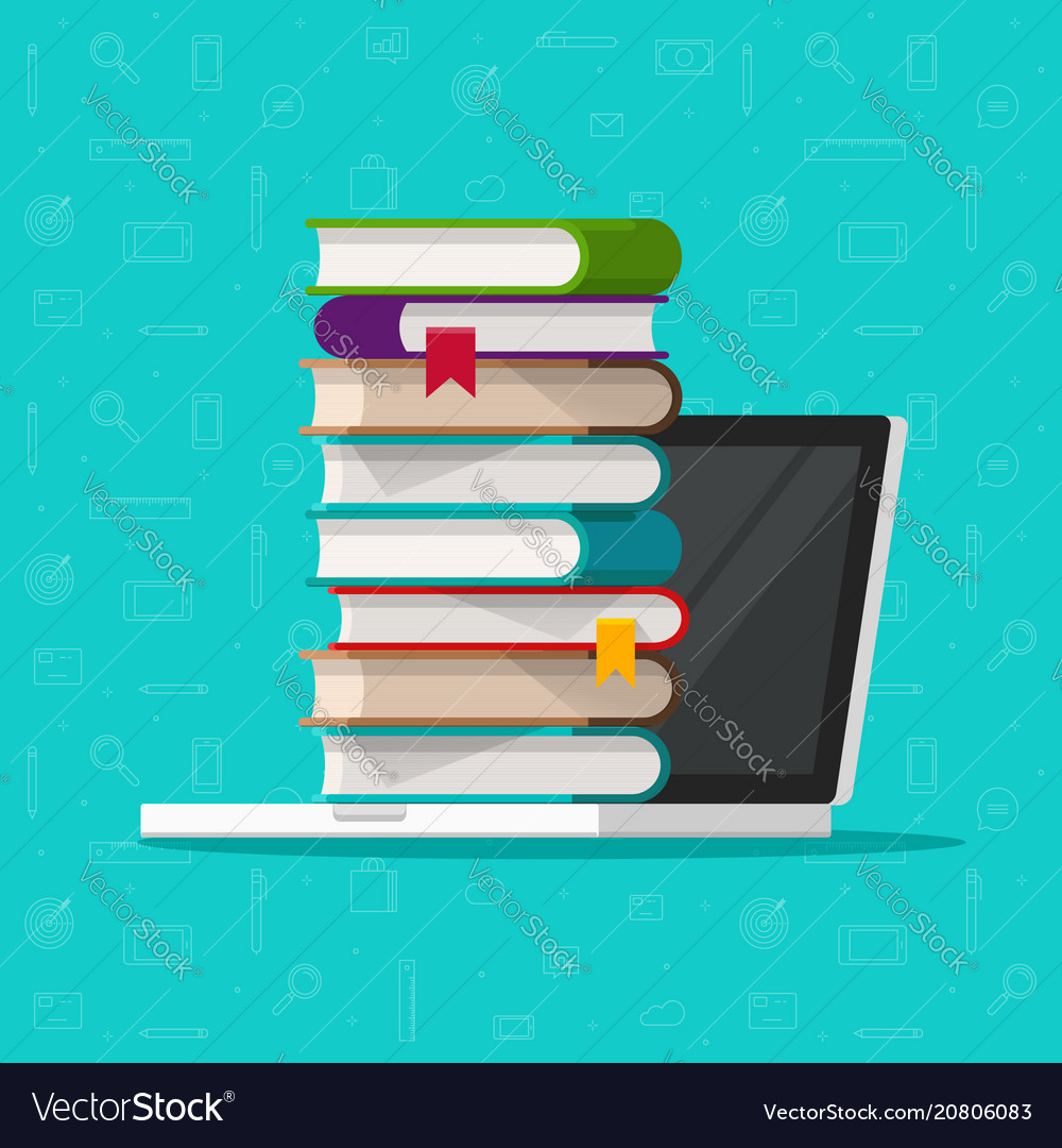 Books stack on laptop computer