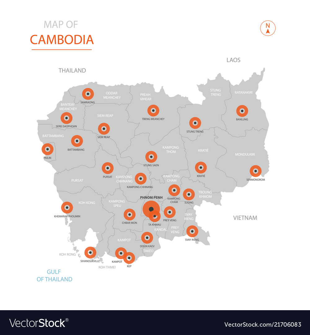 Cambodia map with administrative divisions