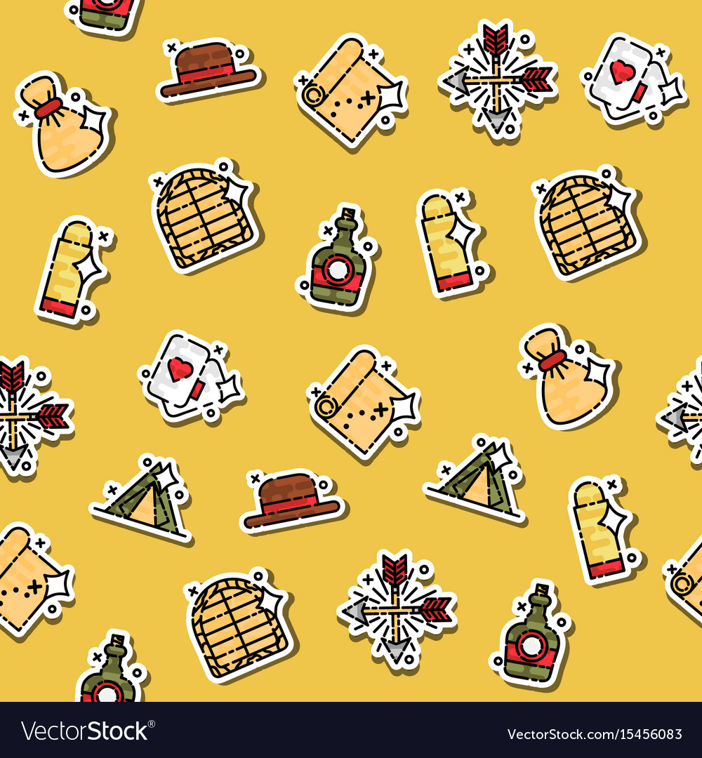 Colored wild west concept icons pattern