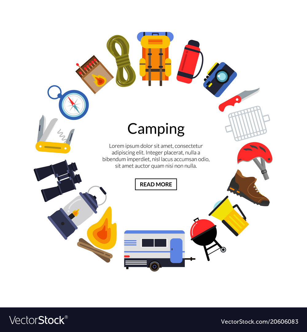 Flat style camping elements