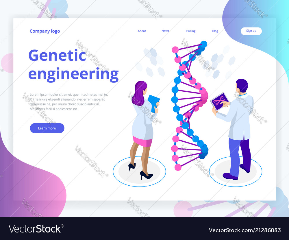 Isometric digital dna structure in blue background