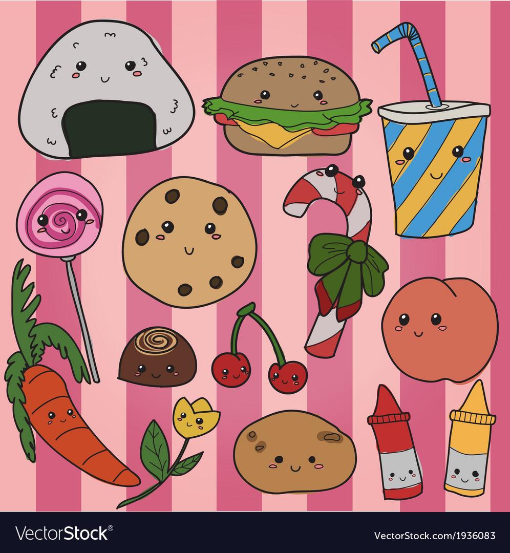 Kawaii food vector image