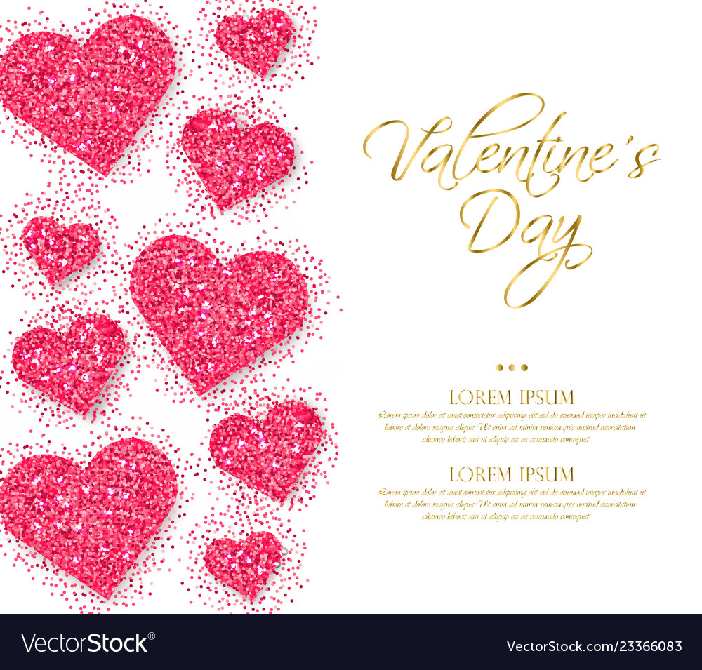 Pink glitter hearts valentine day romantic