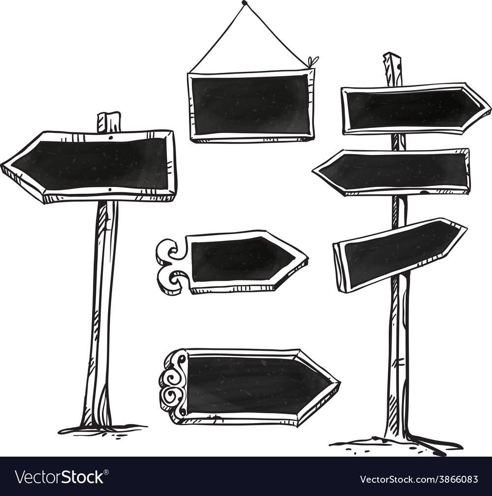 Set of signboards
