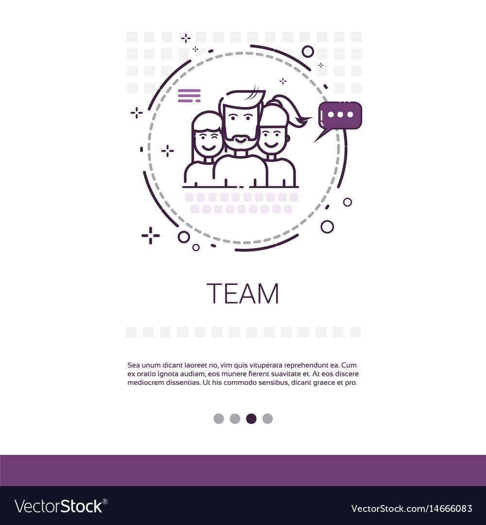 Teamwork management business team banner with copy