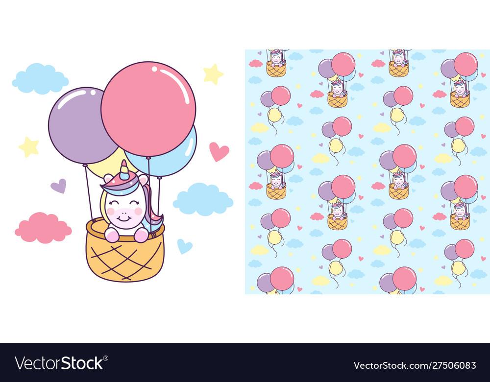 Unicorn ride basket with air balloon
