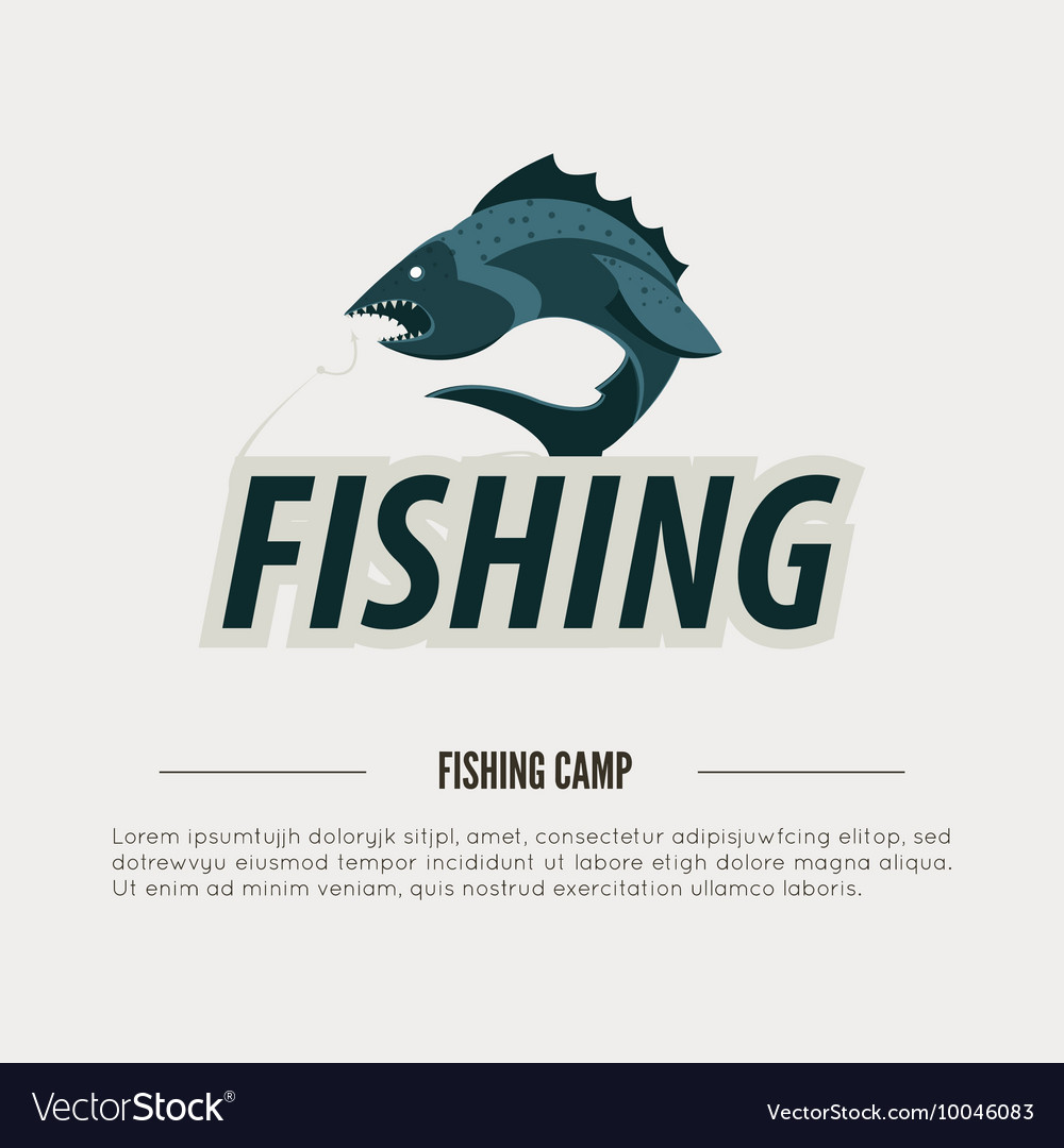 Vintage fishing label badge poster template or vector image