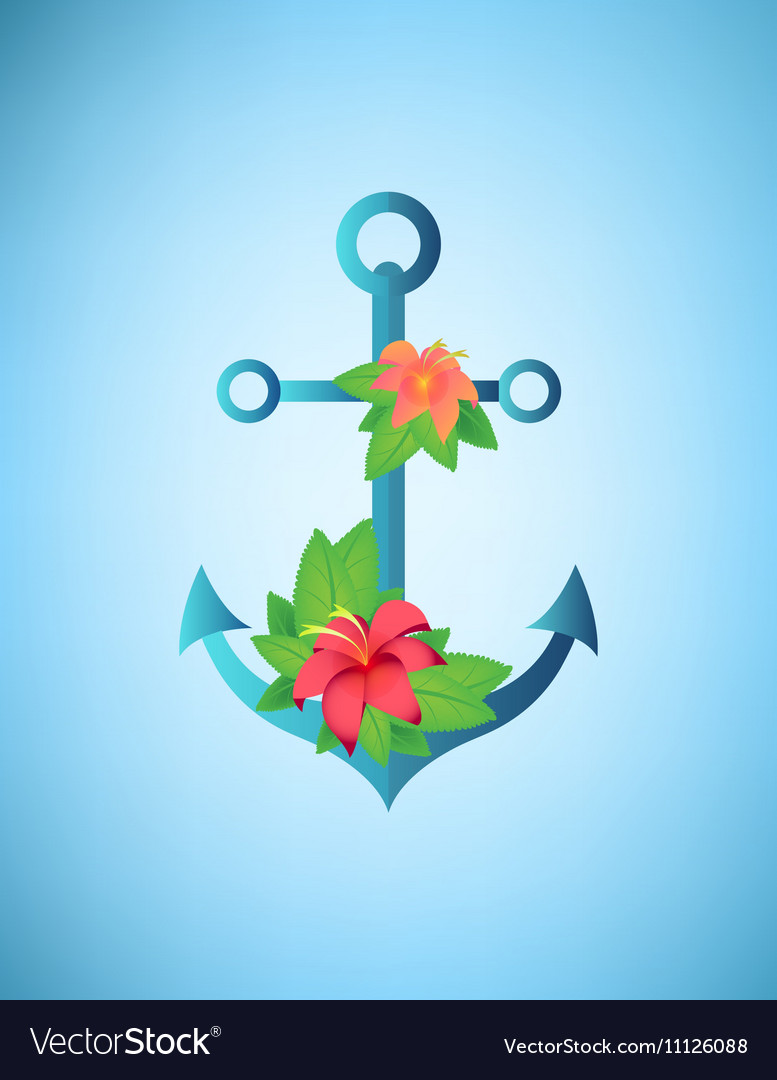 Anchor hibiscus flowers and palm leaves retro