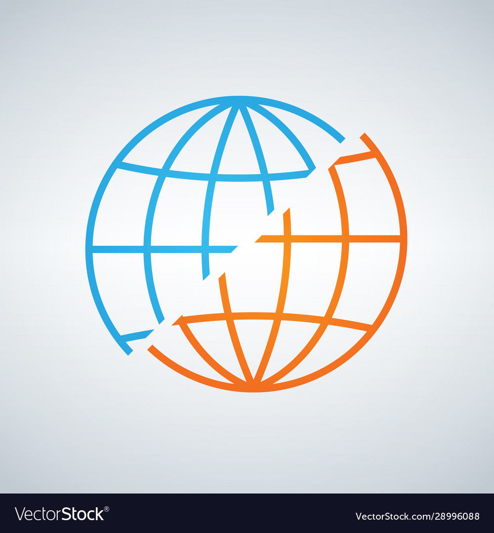 Blue and orange shifted or decided world globe