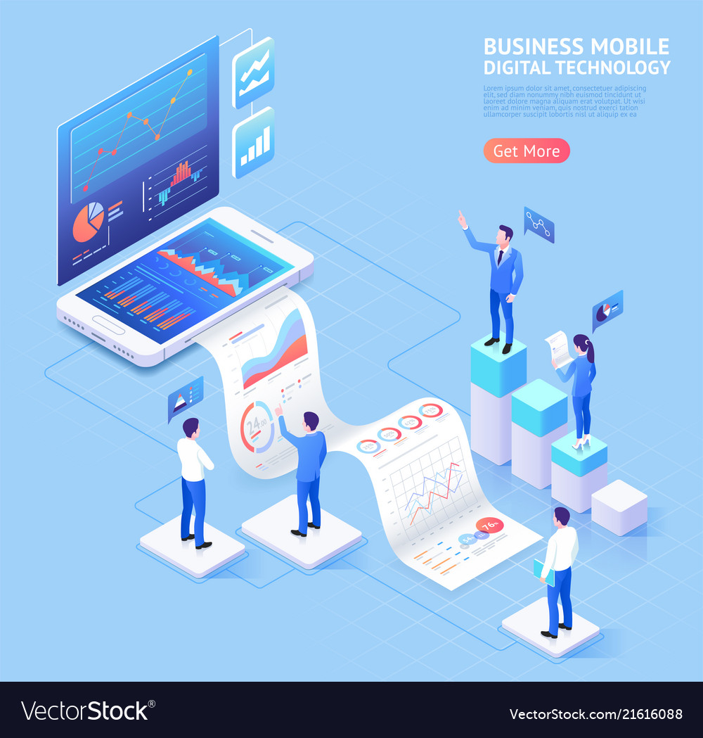 Business mobile application isometric