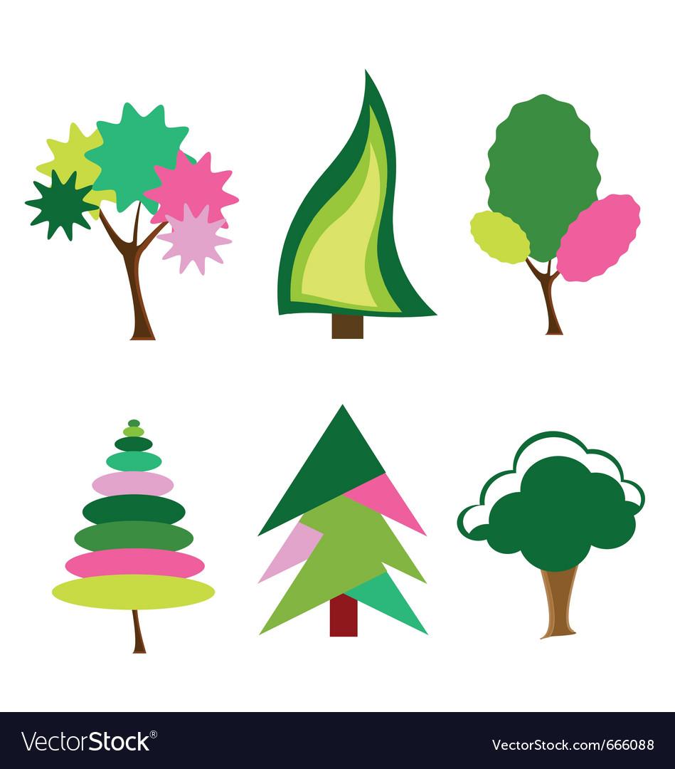 Cartoon colorful trees