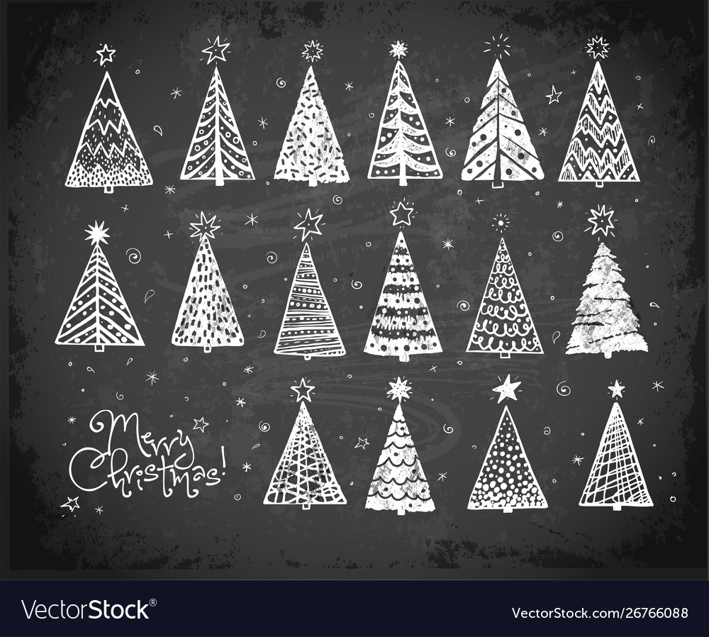 Christmas card with christmas trees doodles on