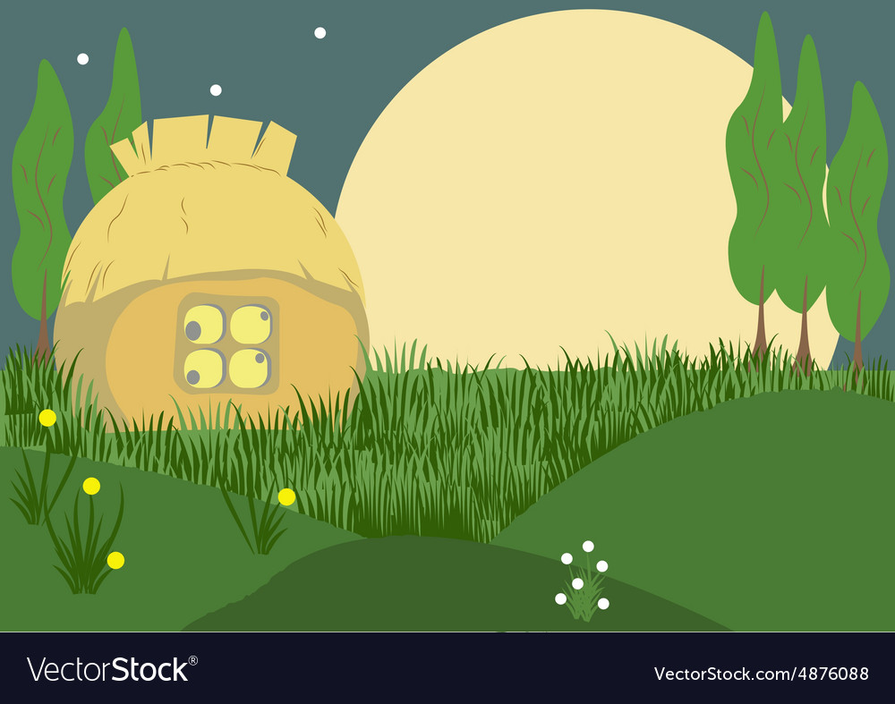 Evening in the village vector image