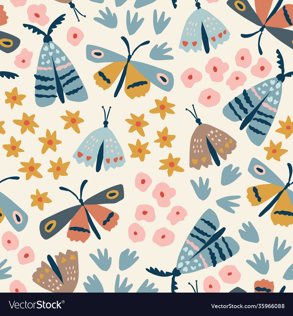 Floral seamless pattern hand drawn colorful