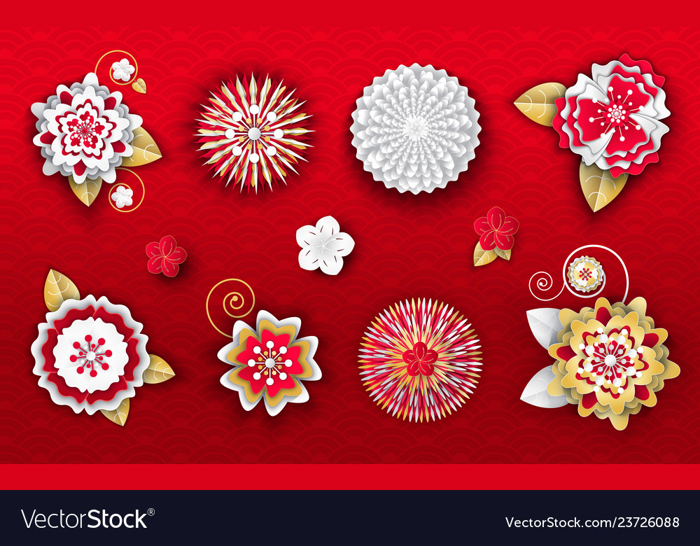 Flower Origami Decoration For Chinese New Year Vector Image