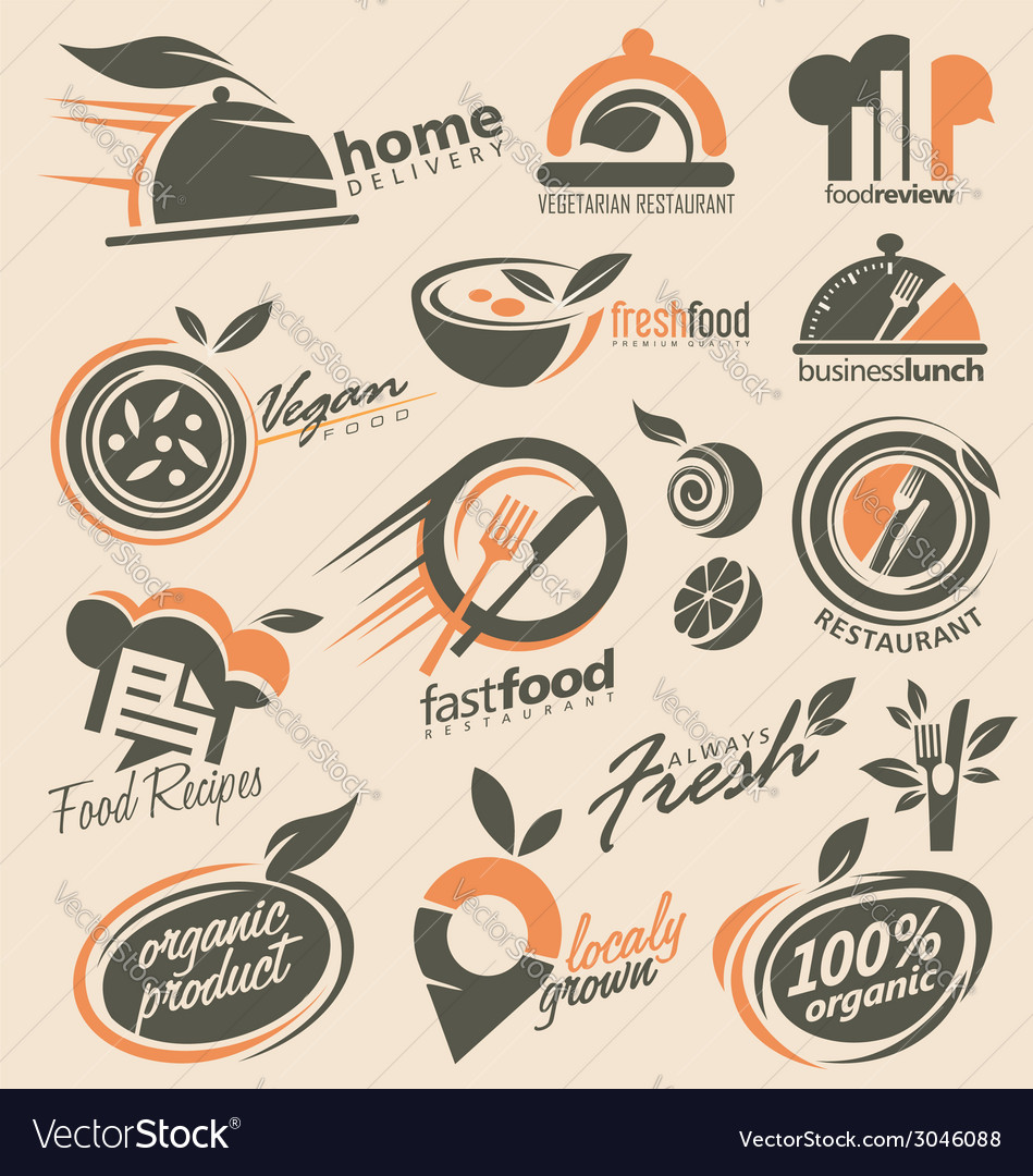 Food And Restaurant Logo Designs Royalty Free Vector Image
