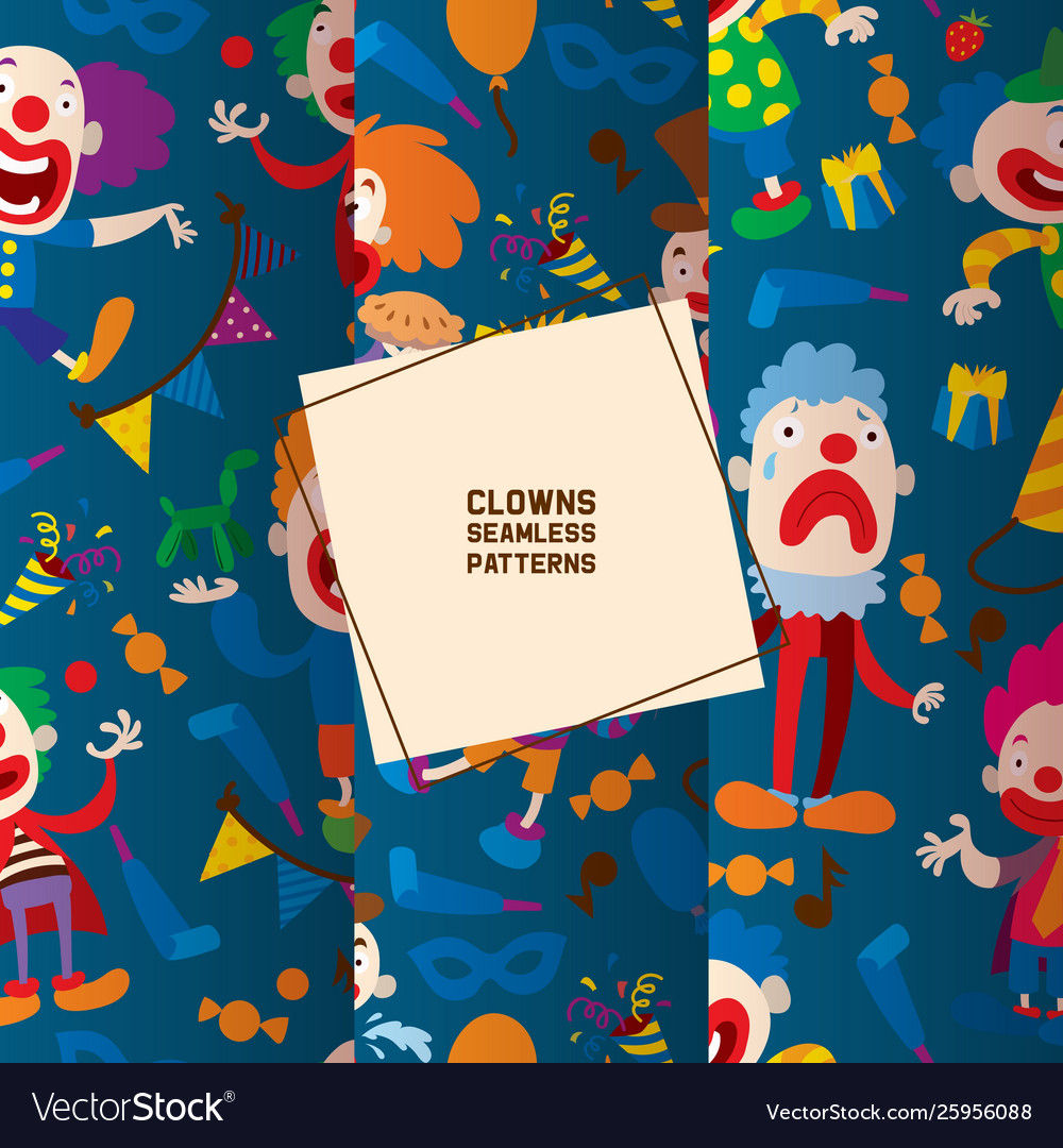 Funny clowns characters and different circus